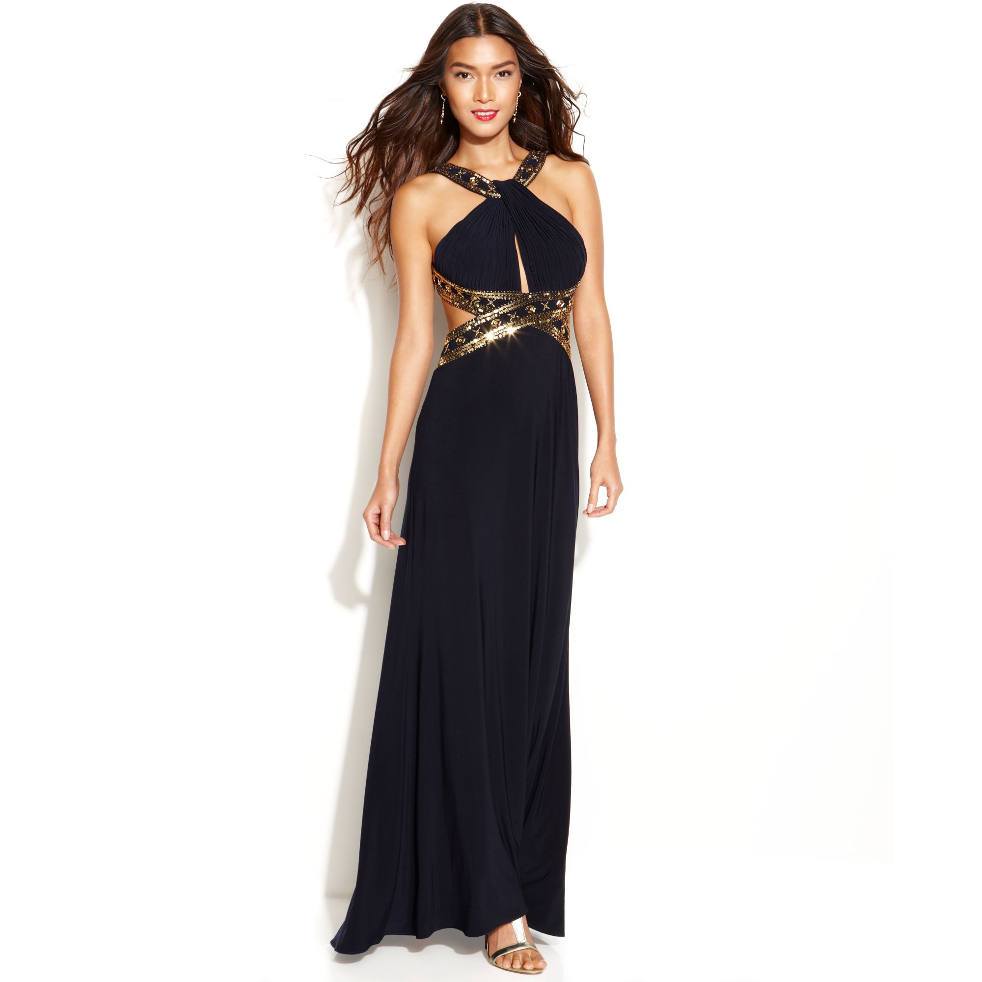 Lyst Betsy Adam Beaded Cut Out Halter Gown In Blue