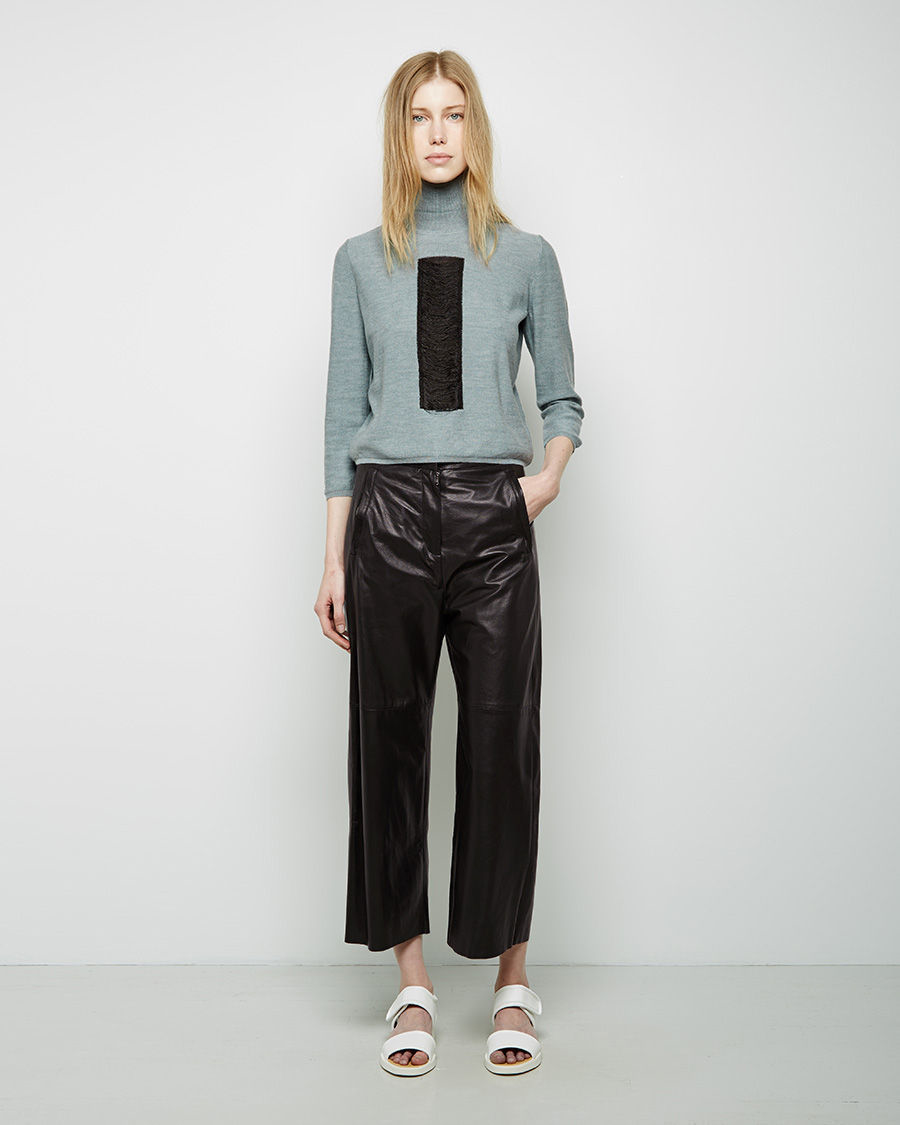 Mm6 by maison martin margiela Wide Leg Leather Pants in Black | Lyst