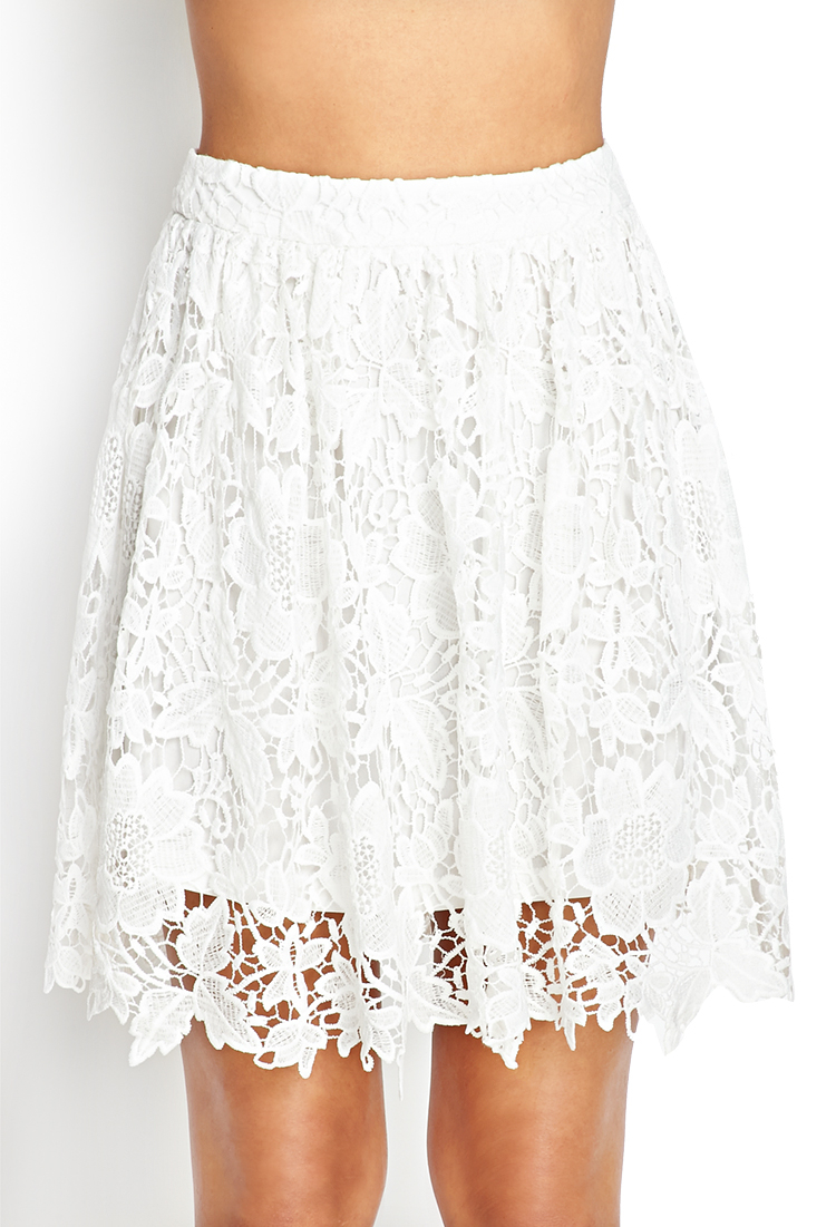 Forever 21 Crochet Lace A-Line Skirt in White | Lyst