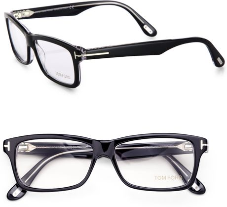 Large Rectangular Glasses Frame : Tom Ford Rectangular Plastic Eye-Glasses in Black Lyst