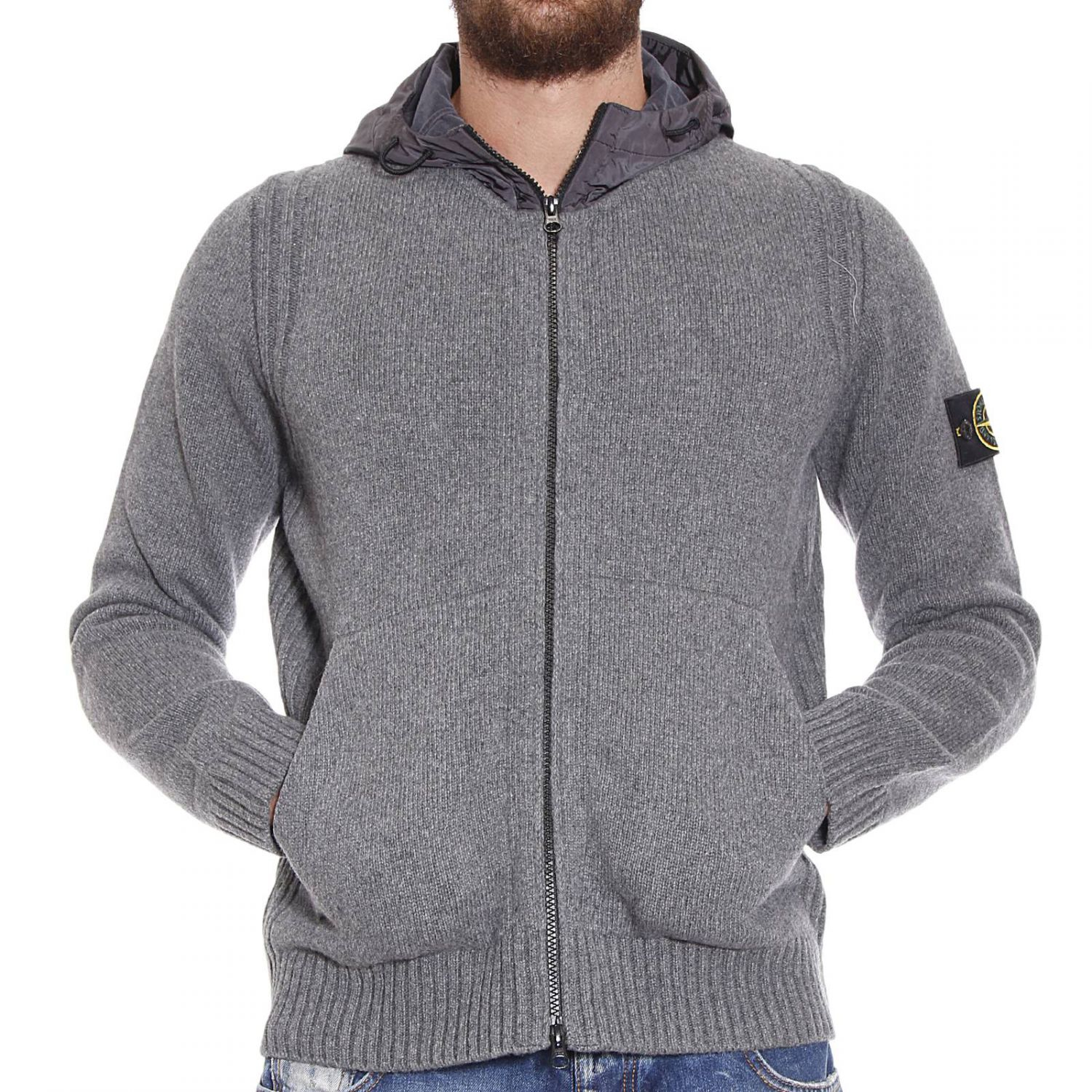 stone island sweater lambswool cardigan with hood in gray for men lyst. Black Bedroom Furniture Sets. Home Design Ideas