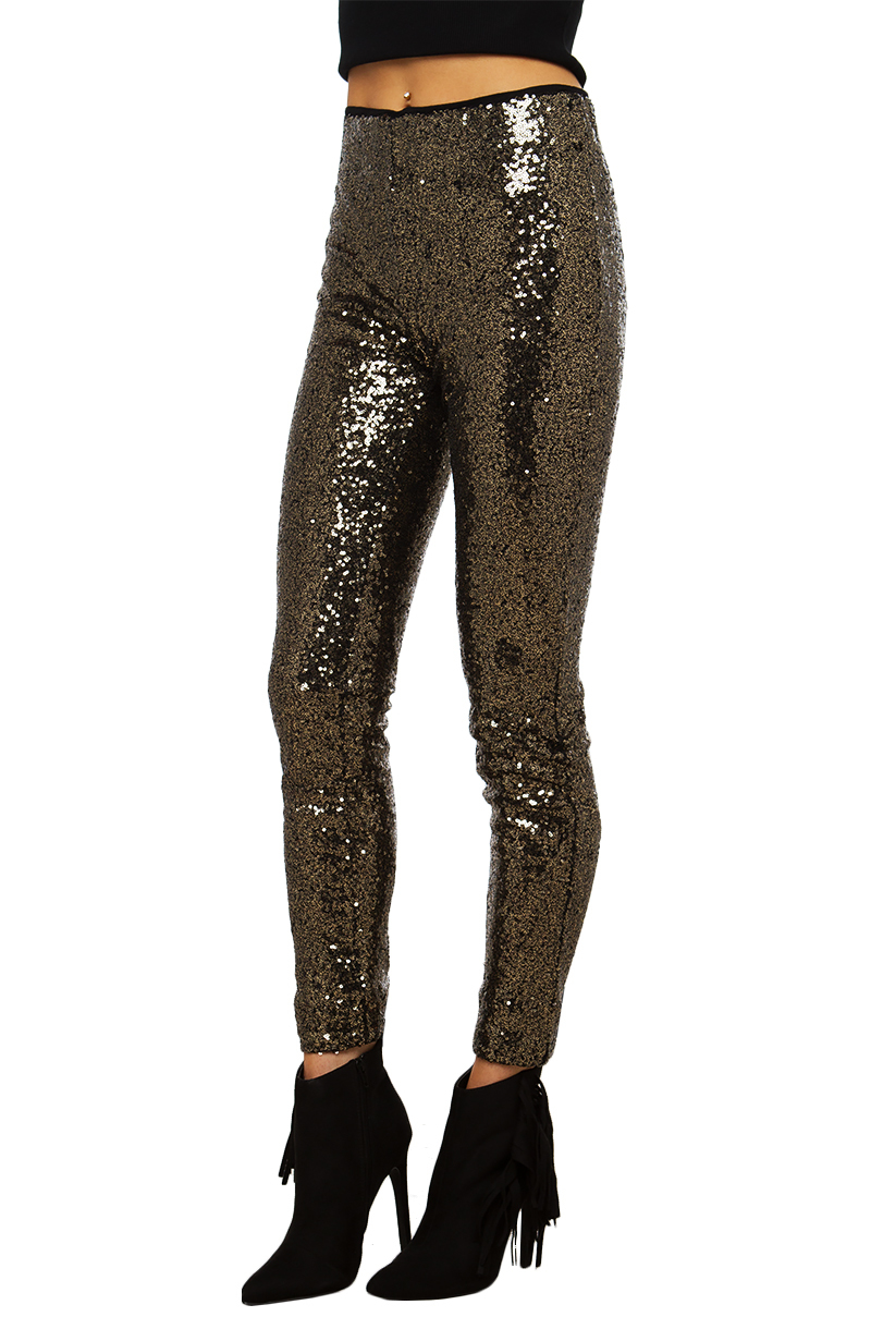 Akira Sequin Leggings In Metallic Lyst