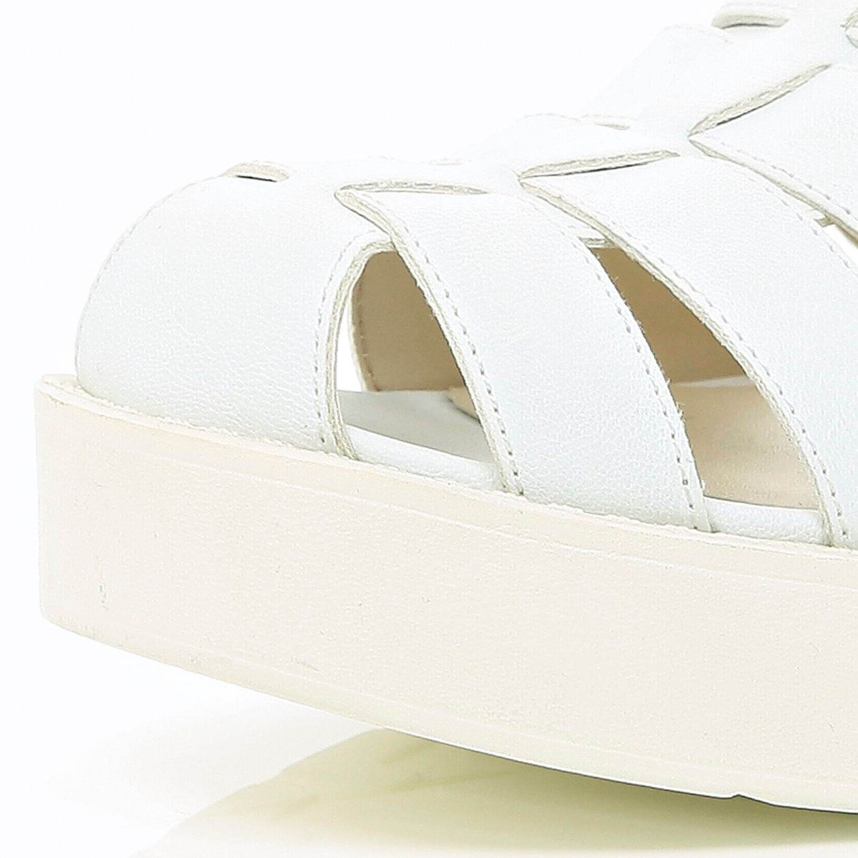 White Block Heel Gladiator Sandals