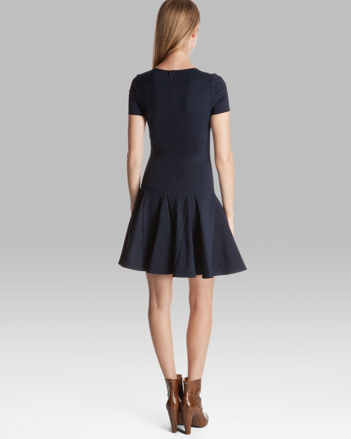 Halston Dress Short Sleeve Ponte With Flared Skirt In Navy