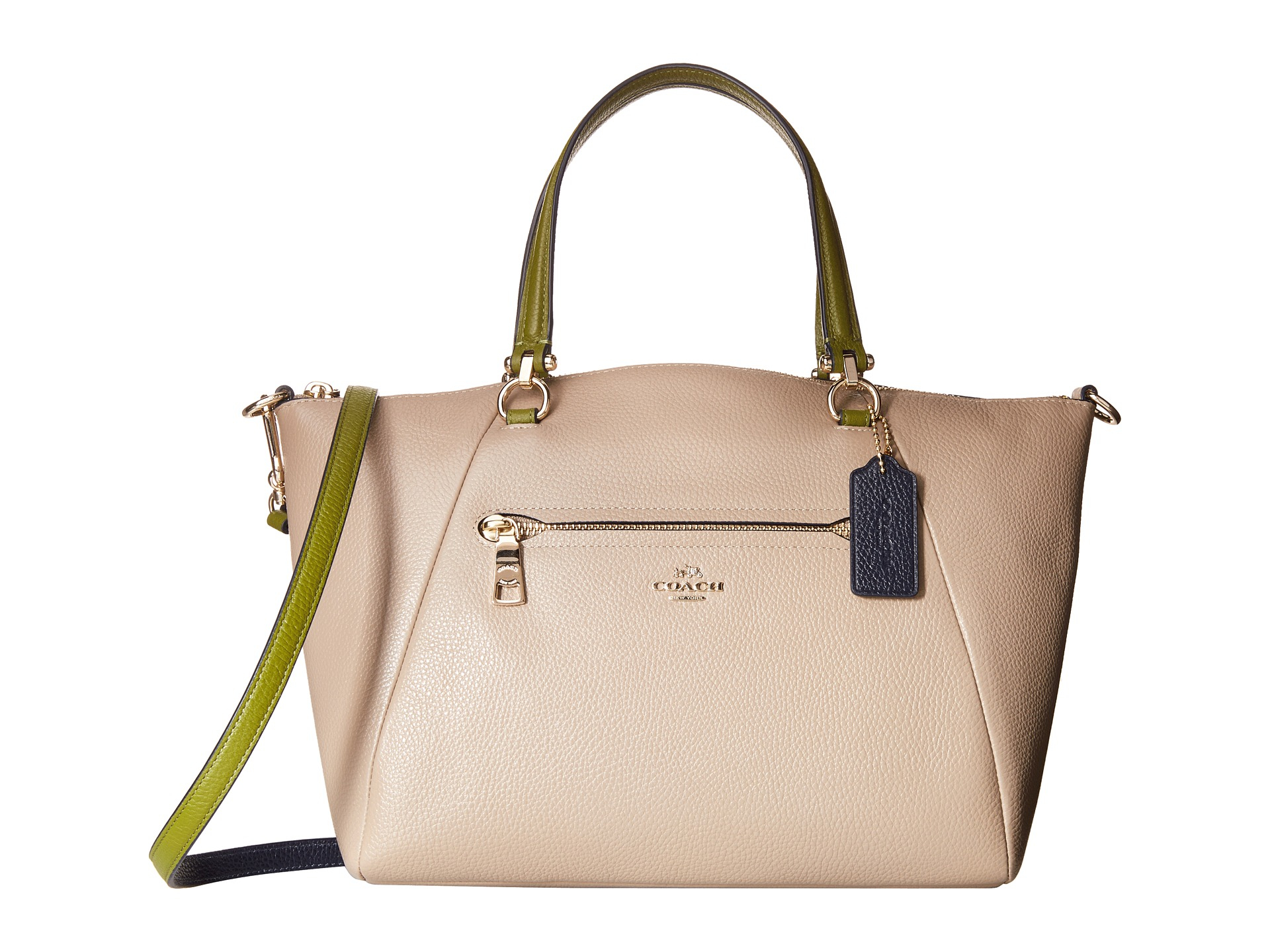 bbe8c21bb3e5c Lyst - COACH Color Block Polished Pebble Leather Prairie Satchel in ...