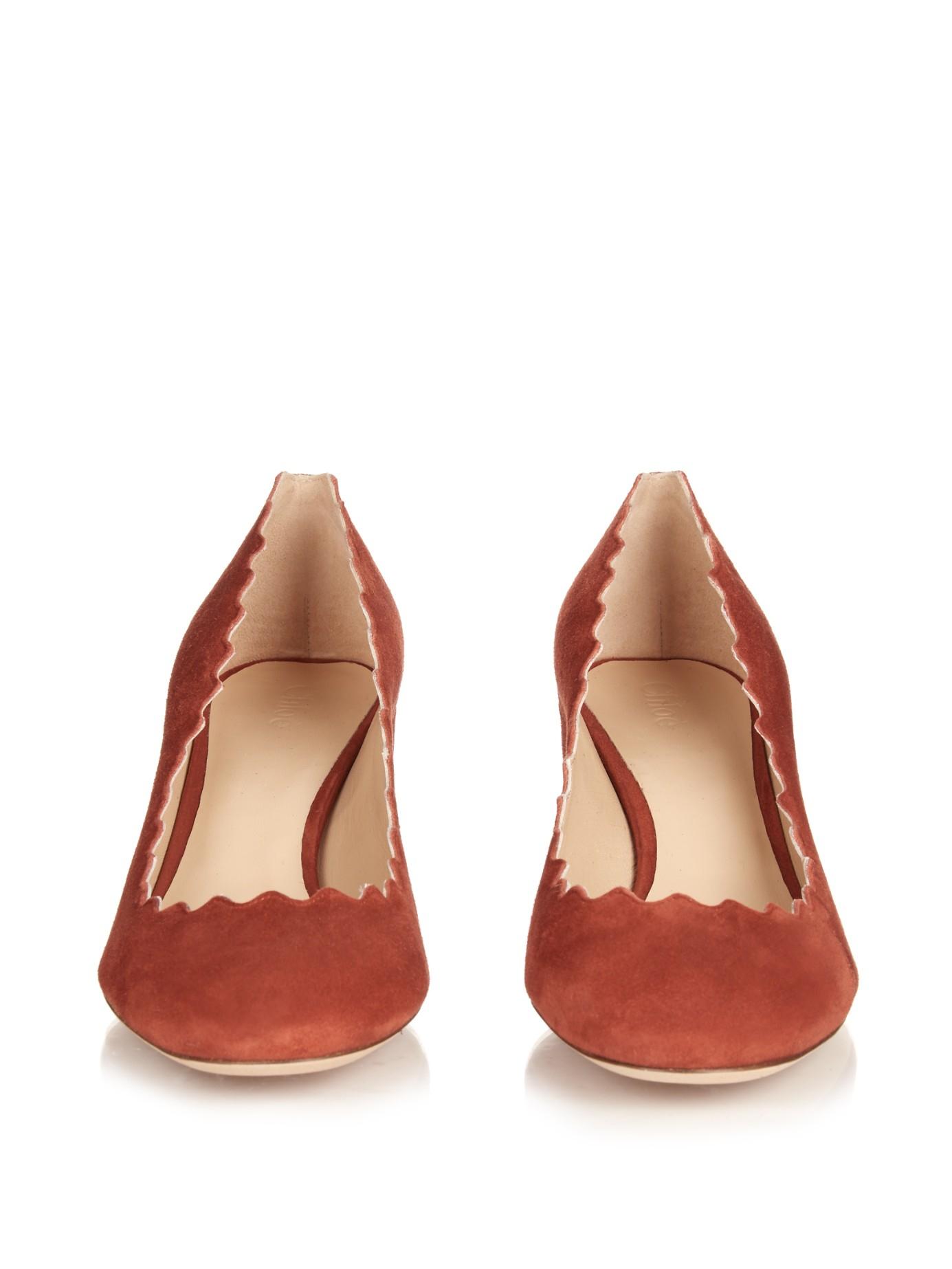 fccb631cbb6ad Lyst - Chloé Lauren Scallop-edged Block-heel Suede Pumps in Red