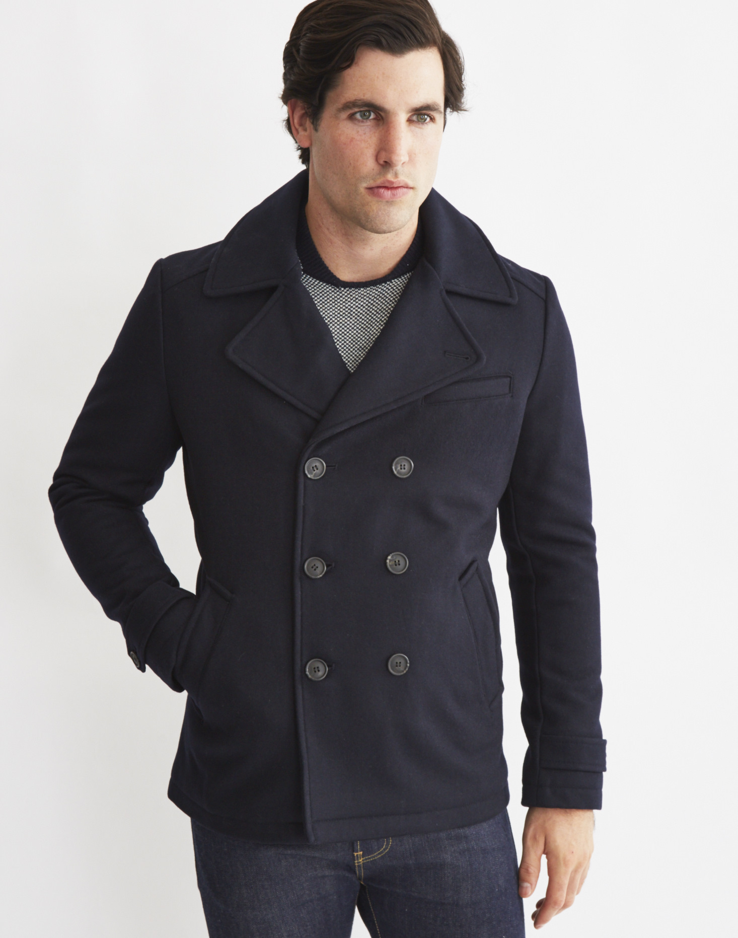 Product Features button front closure, black pea coat trench coat over coats slim fit.