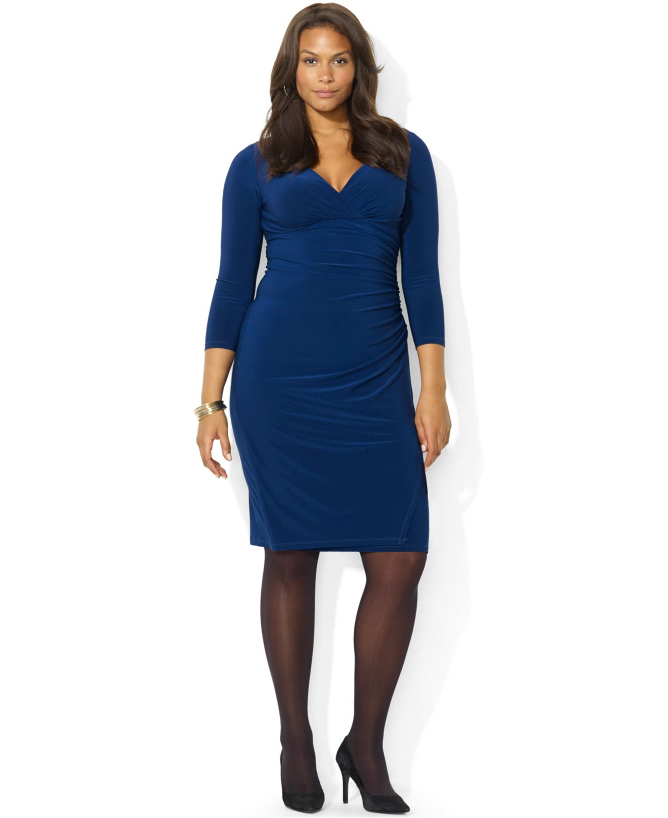 Lauren by Ralph Lauren Plus Size Long-Sleeve Ruched Jersey Dress in ...
