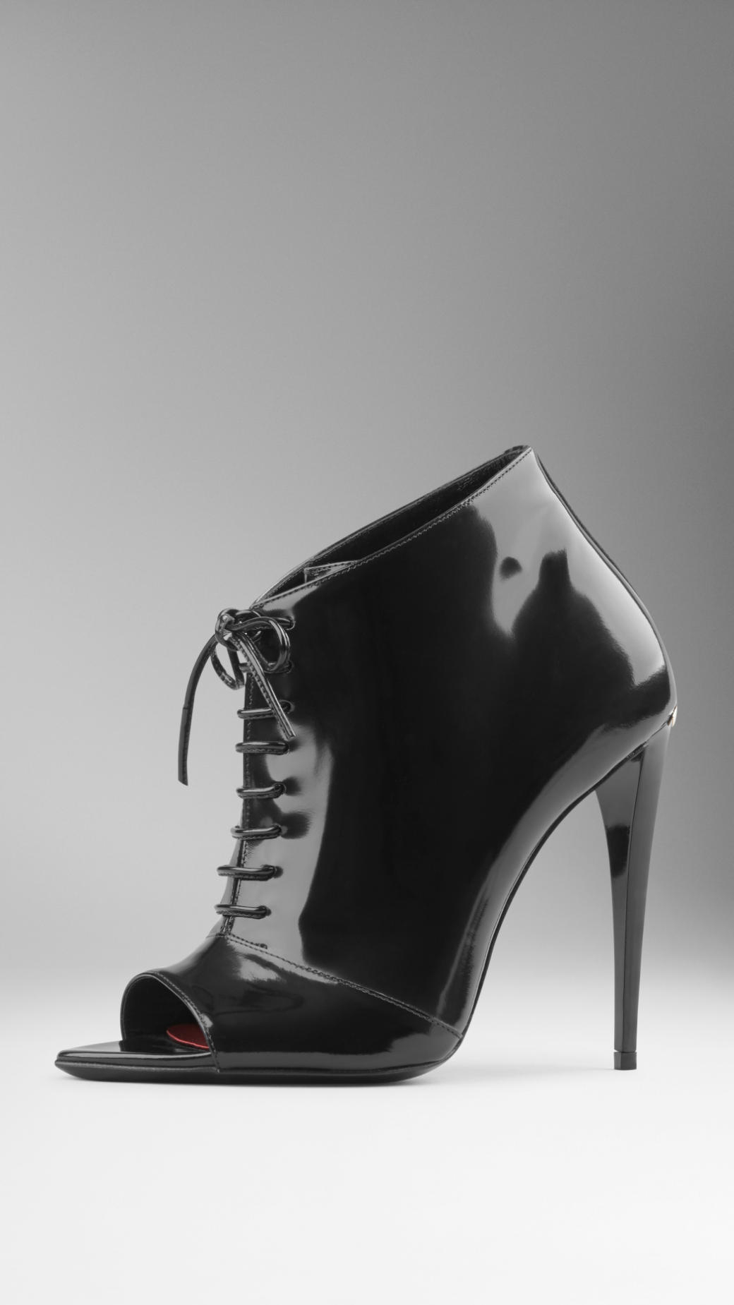Lyst - Burberry Patent Leather Peep-Toe Ankle Boots in Black 24a365d61
