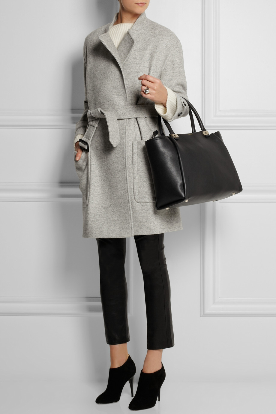 Burberry Belted Wool Coat in Gray | Lyst