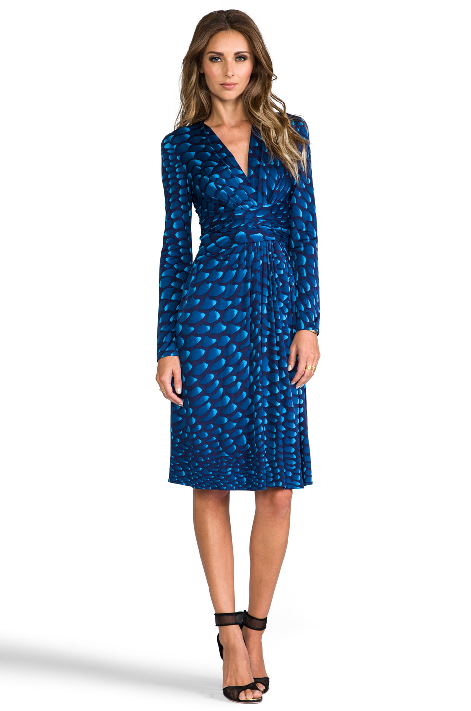 Issa Long Sleeve Silk Jersey Dress In Navy In Blue Lyst