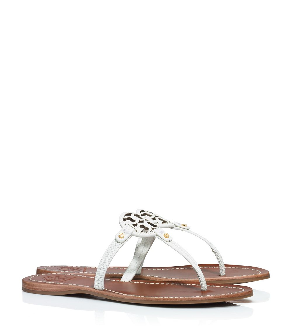 4b228b65efb663 Tory Burch Mini Miller Flat Thong Sandal in White - Lyst