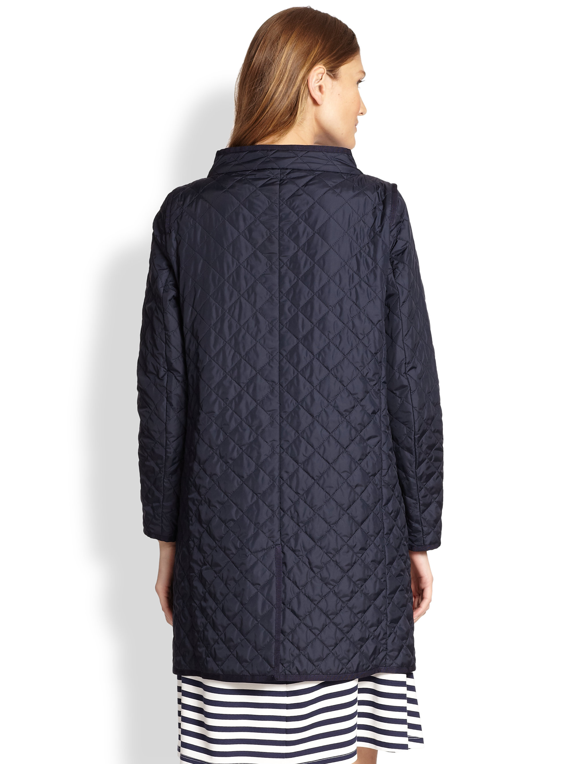 Weekend By Maxmara Bozen Long Quilted Jacket In Blue Lyst