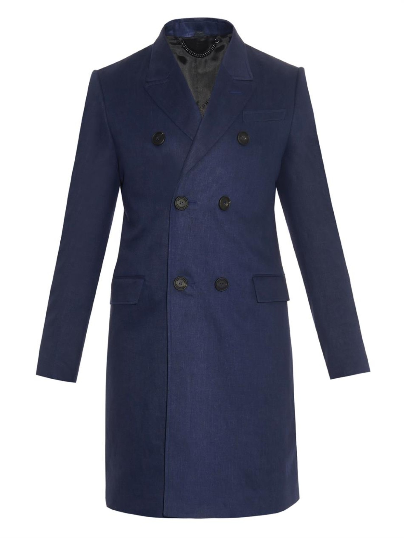 Lyst Burberry Prorsum Double Breasted Linen Coat In Blue