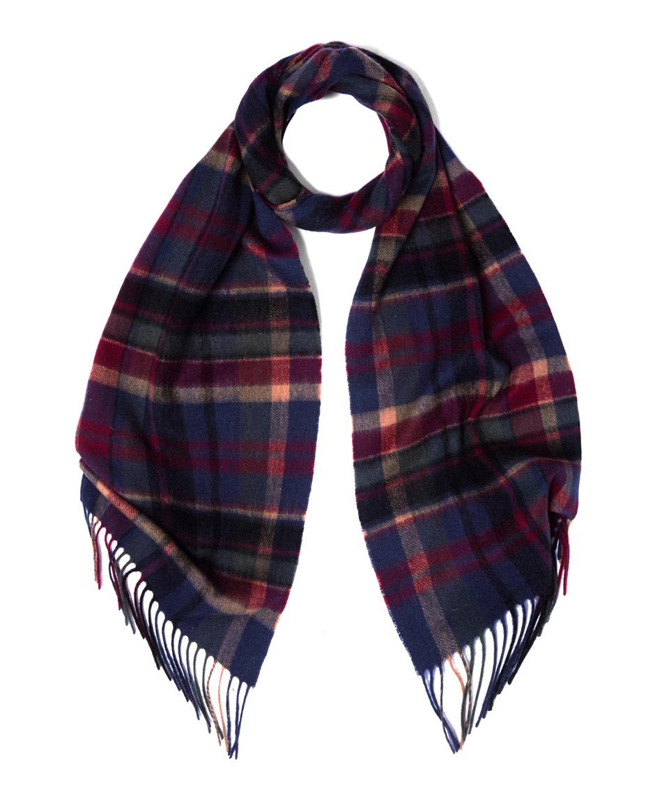 barbour navy vintage winter plaid wool blend scarf in blue