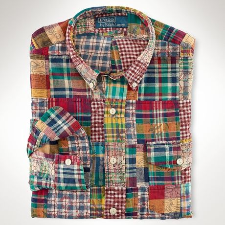 Polo ralph lauren custom patchwork madras shirt in for Mens madras shirt sale