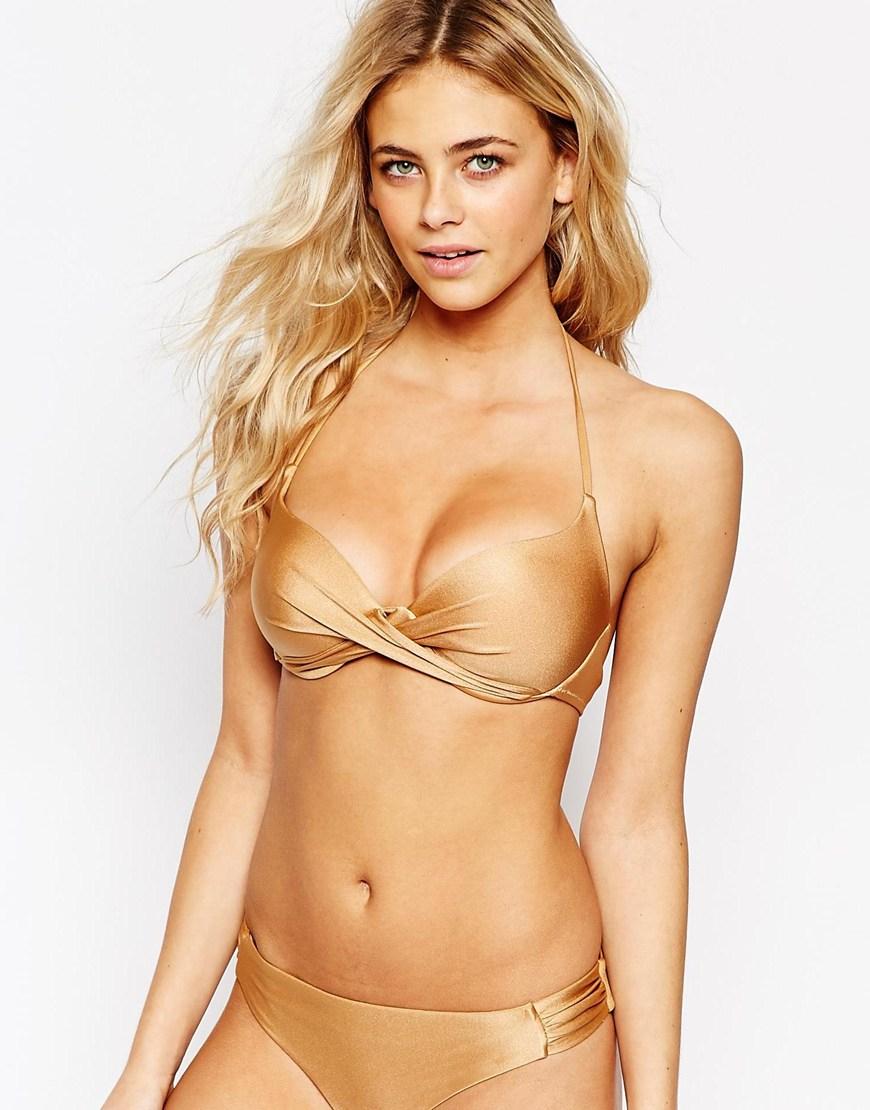 Vero moda Twist Front Bikini Top in Metallic