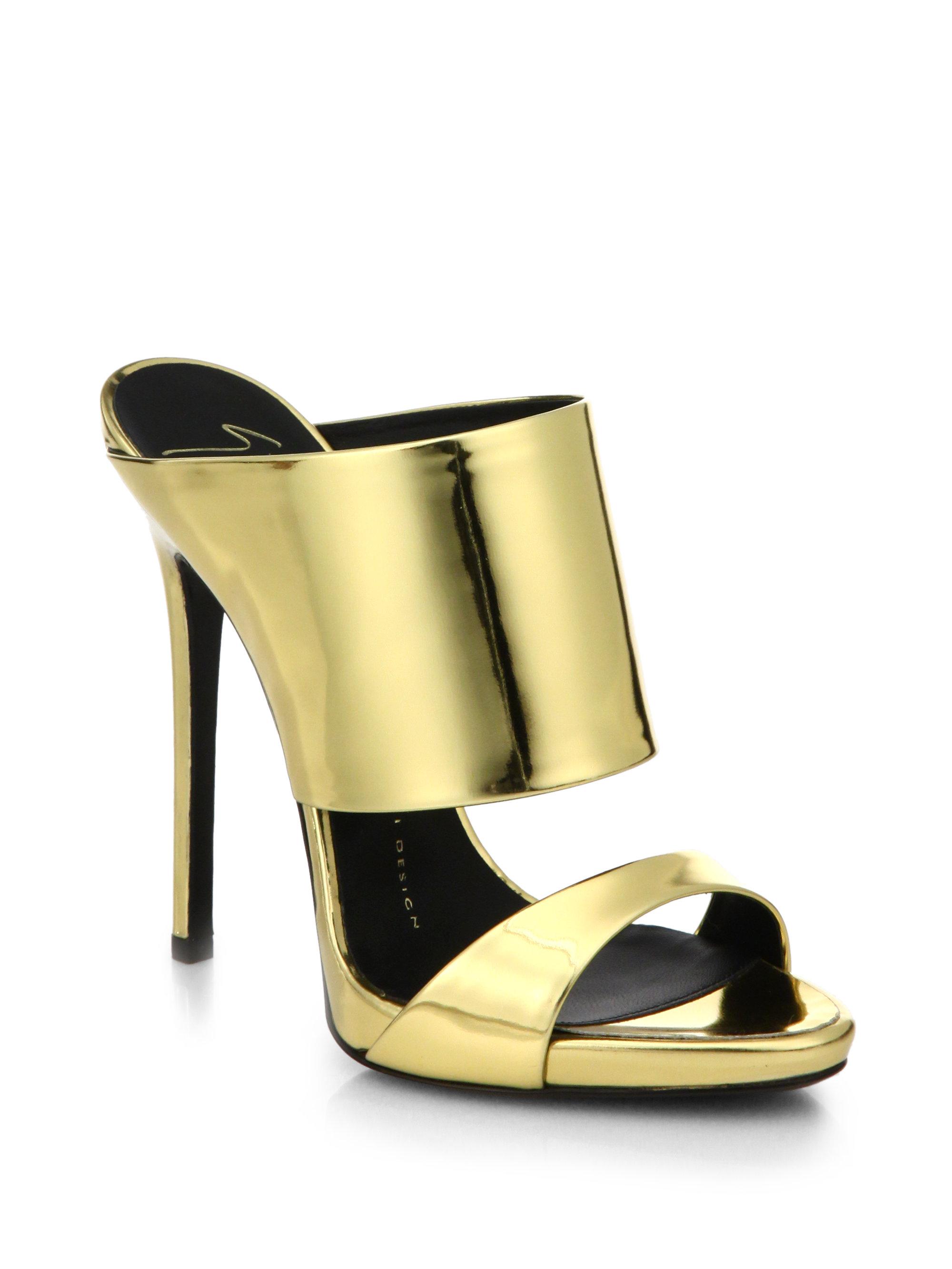 de3b4b71d4b3 Lyst - Giuseppe Zanotti Metallic Leather Mule Sandals in Metallic