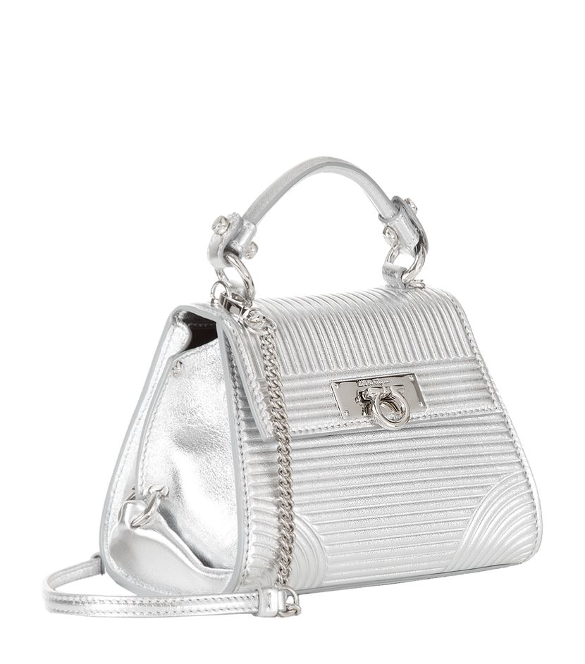 87e54ca5dfa Ferragamo Mini Sofia Metallic Quilted Tote in Metallic - Lyst