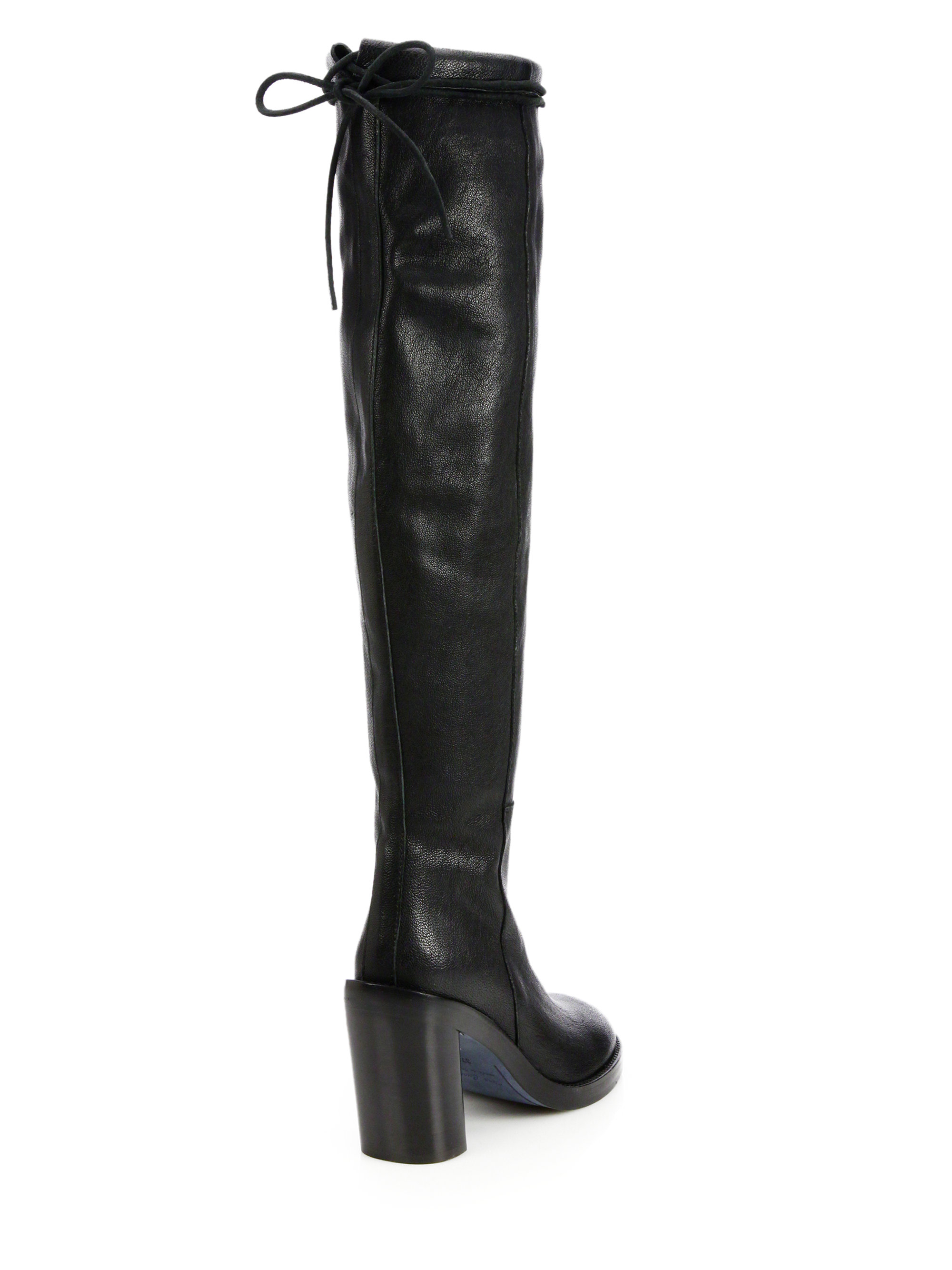 Ann Demeulemeester Round-Toe Leather Over-The-Knee Boots discount marketable discount 2015 cheap sale reliable qeE3uGHKas