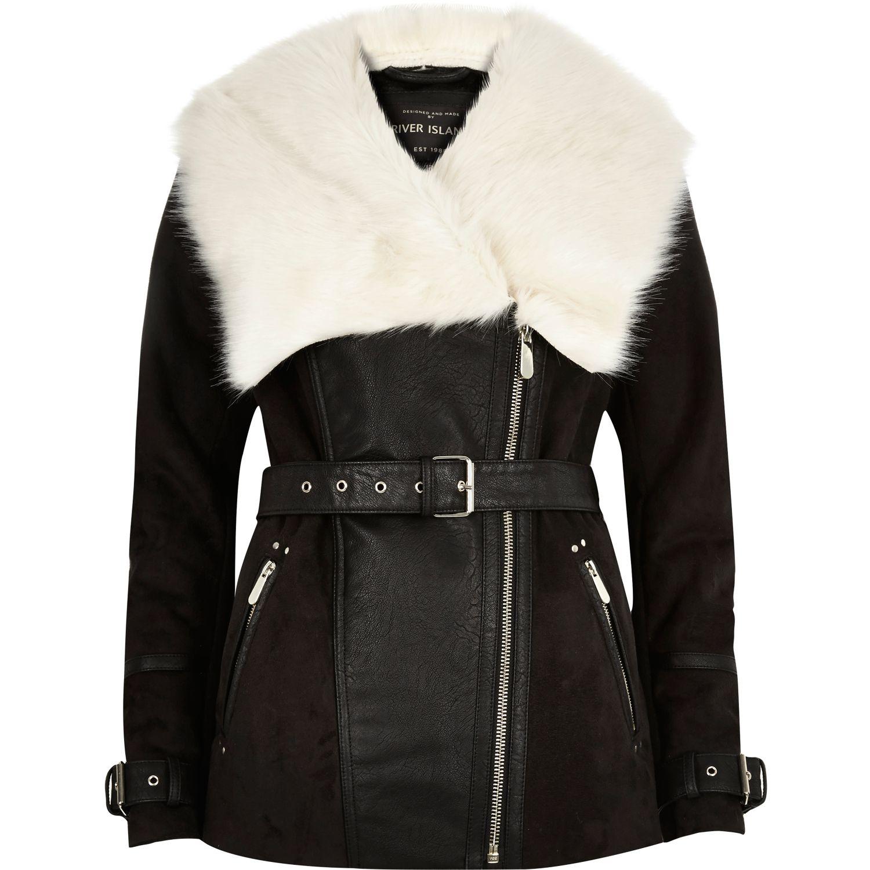 river island black faux suede coat in black lyst #1: river island black black faux suede coat product 0 normal