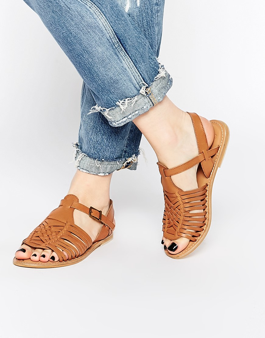River Island Brown Flat Sandals