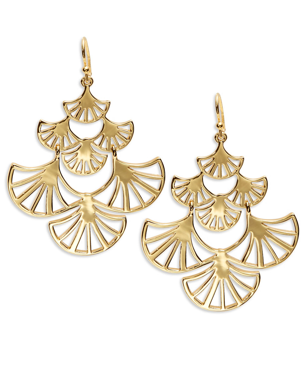 Trina turk Goldtone Fan Chandelier Earrings in Metallic – Gold Tone Chandelier Earrings