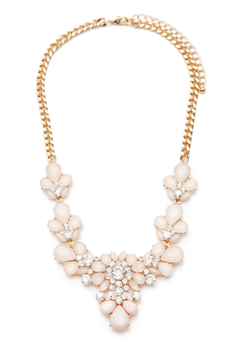 Forever 21 Rhinestone Flower Statement Necklace in Pink | Lyst