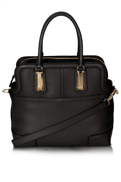 topshop icon leather doctors tote bag in black lyst