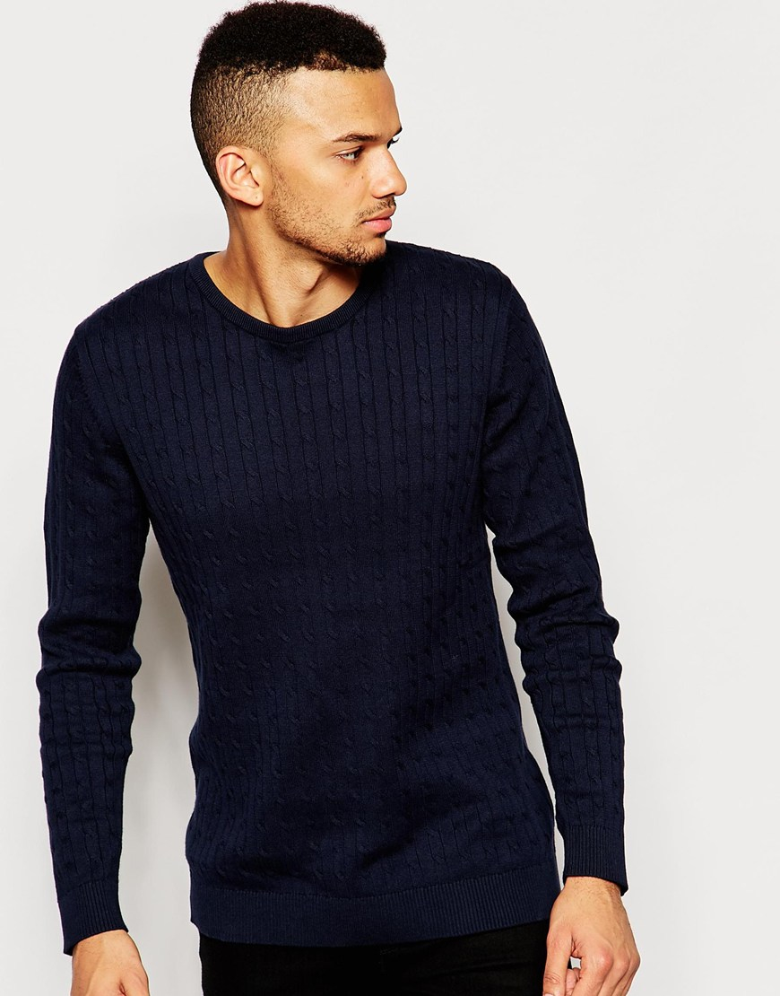 Jack & jones Cable Knit Jumper in Blue for Men | Lyst