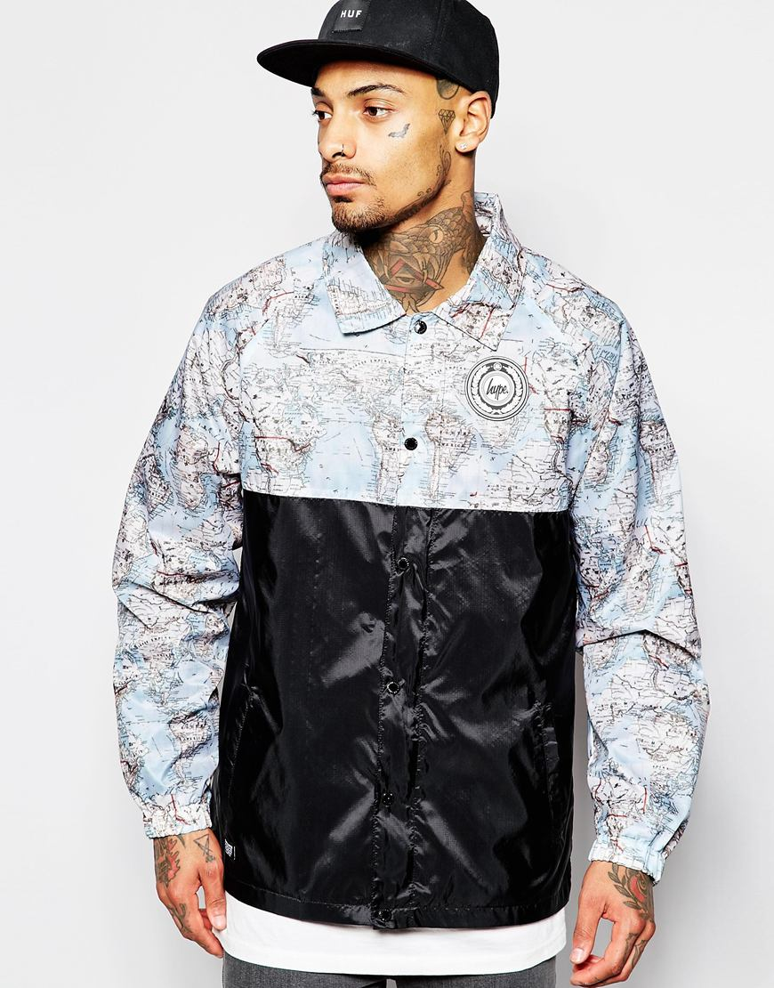 Lyst hype coach jacket with world map print in blue for men gumiabroncs Gallery