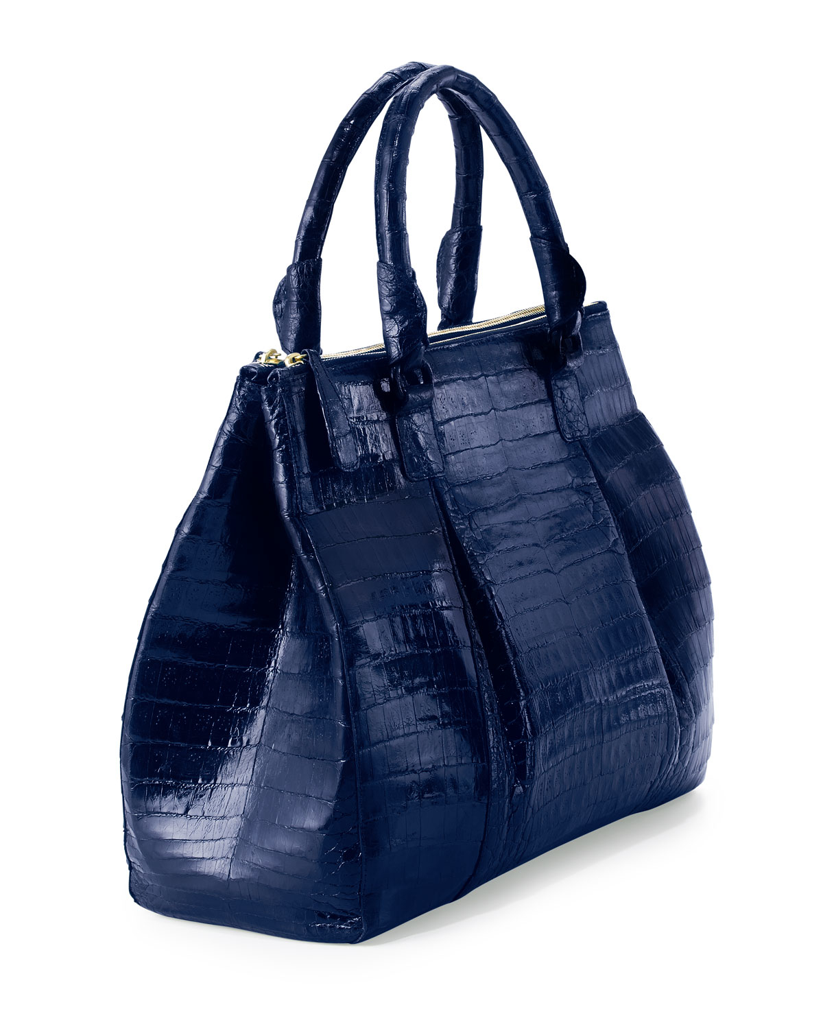 Nancy gonzalez plisse large crocodile tote bag in blue lyst for Nancy gonzalez crocodile tote