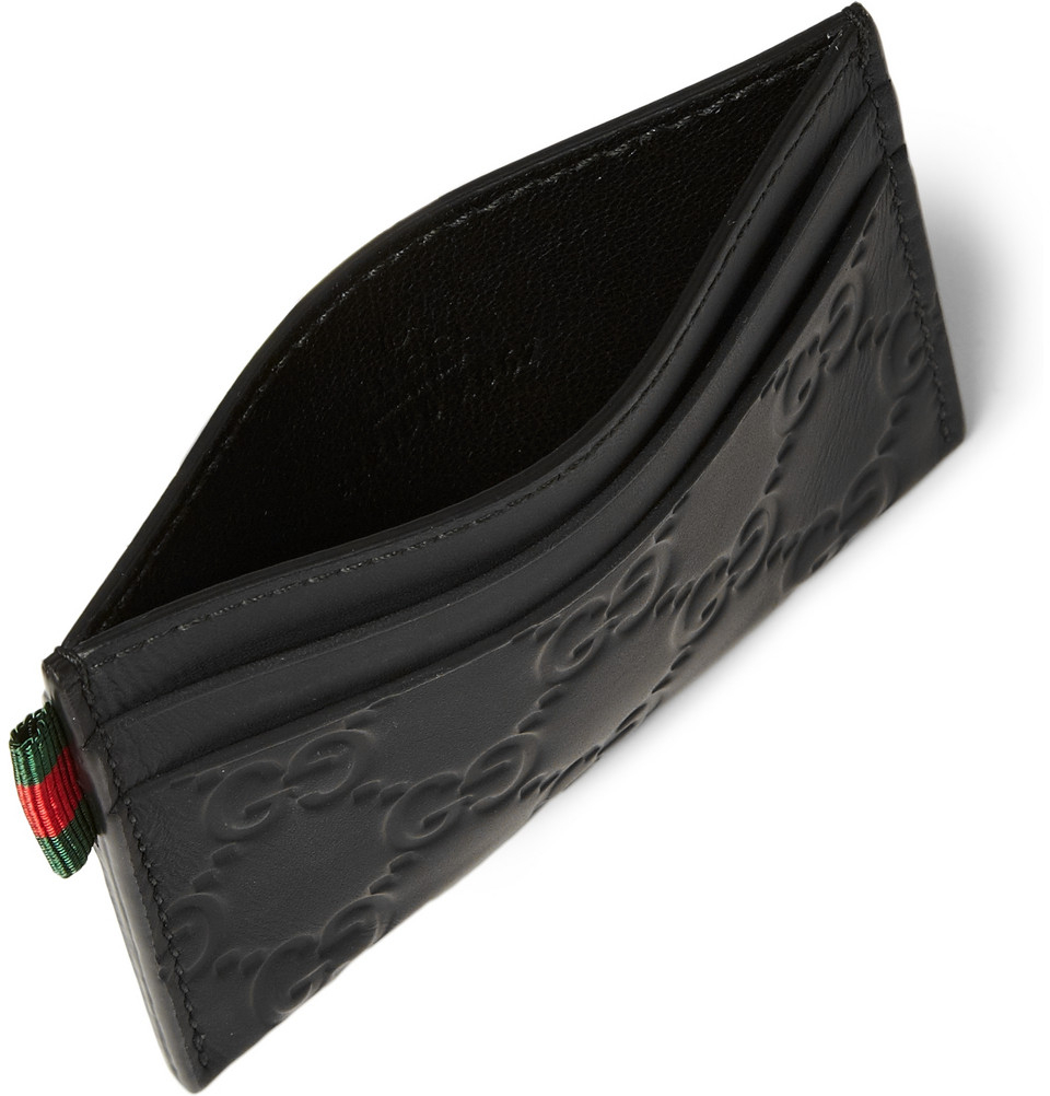 d6fec7259eb4 Gucci Embossed Coated Leather Cardholder in Black for Men - Lyst