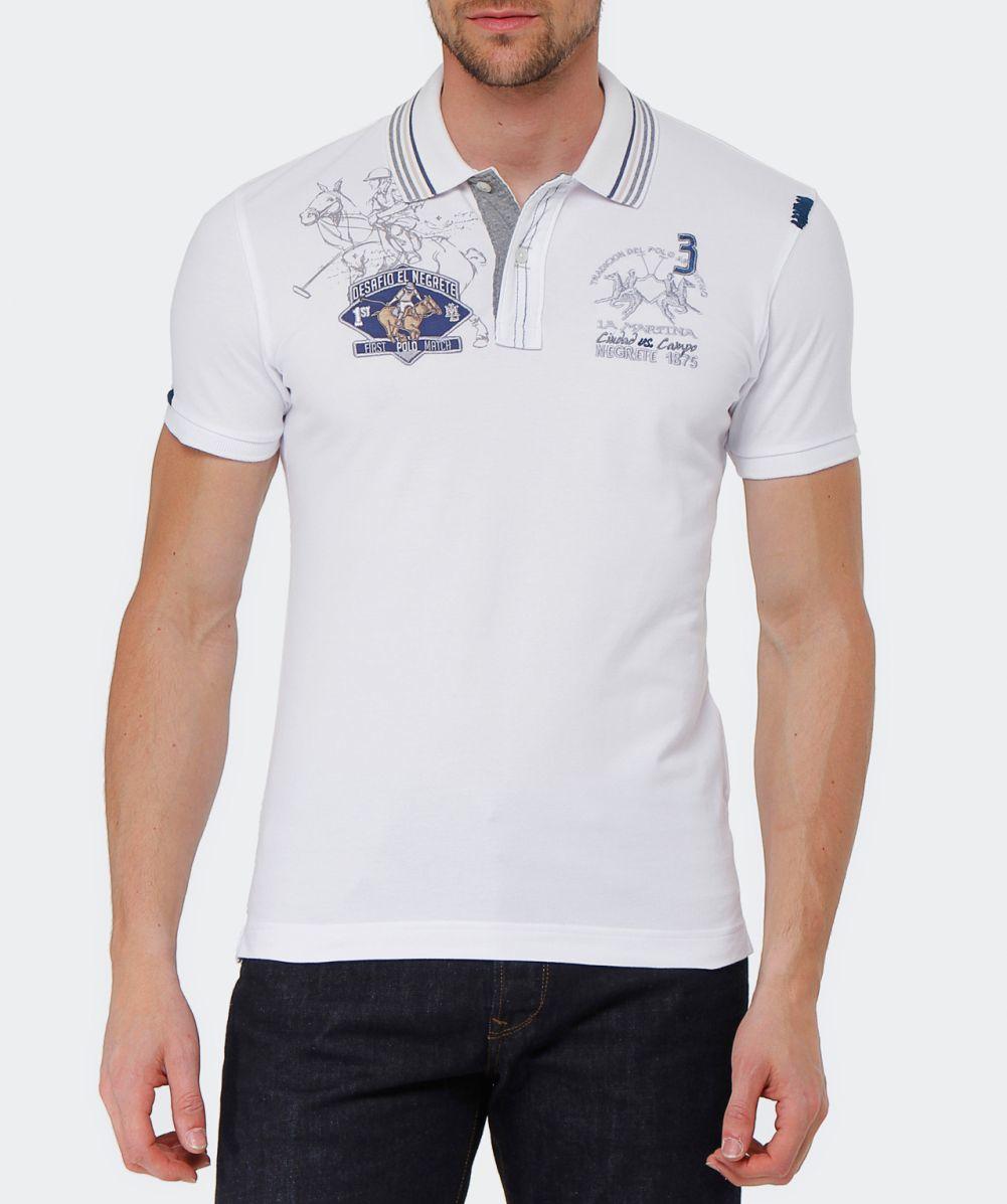 dee455fa56 La Martina Slim Fit Logo Polo Shirt in White for Men - Lyst