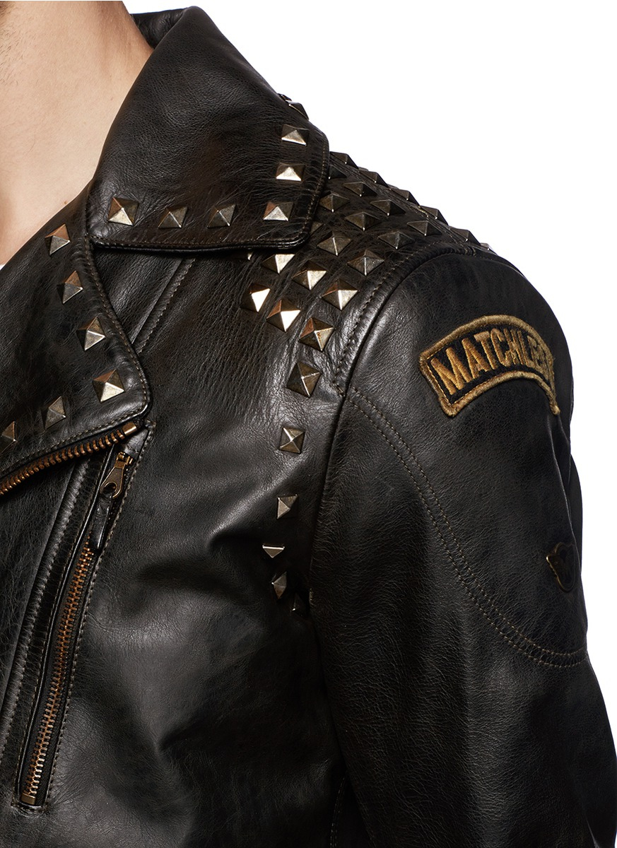 detail look and stud leather f jacket zipper blockout textured distressed
