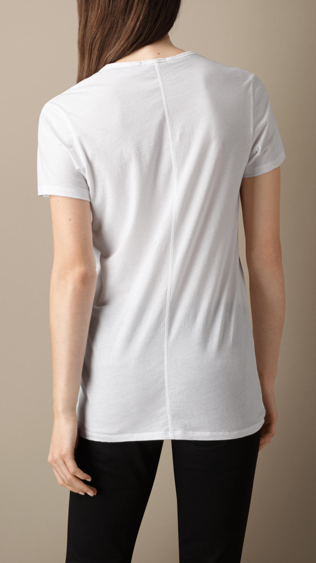 burberry v neck cotton jersey t shirt in white