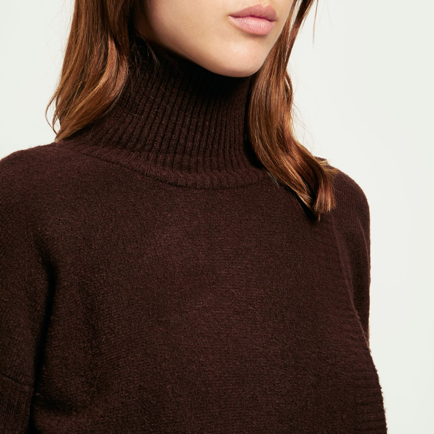 Lyst River Island Chocolate Brown Asymmetric Knitted Jumper In Brown