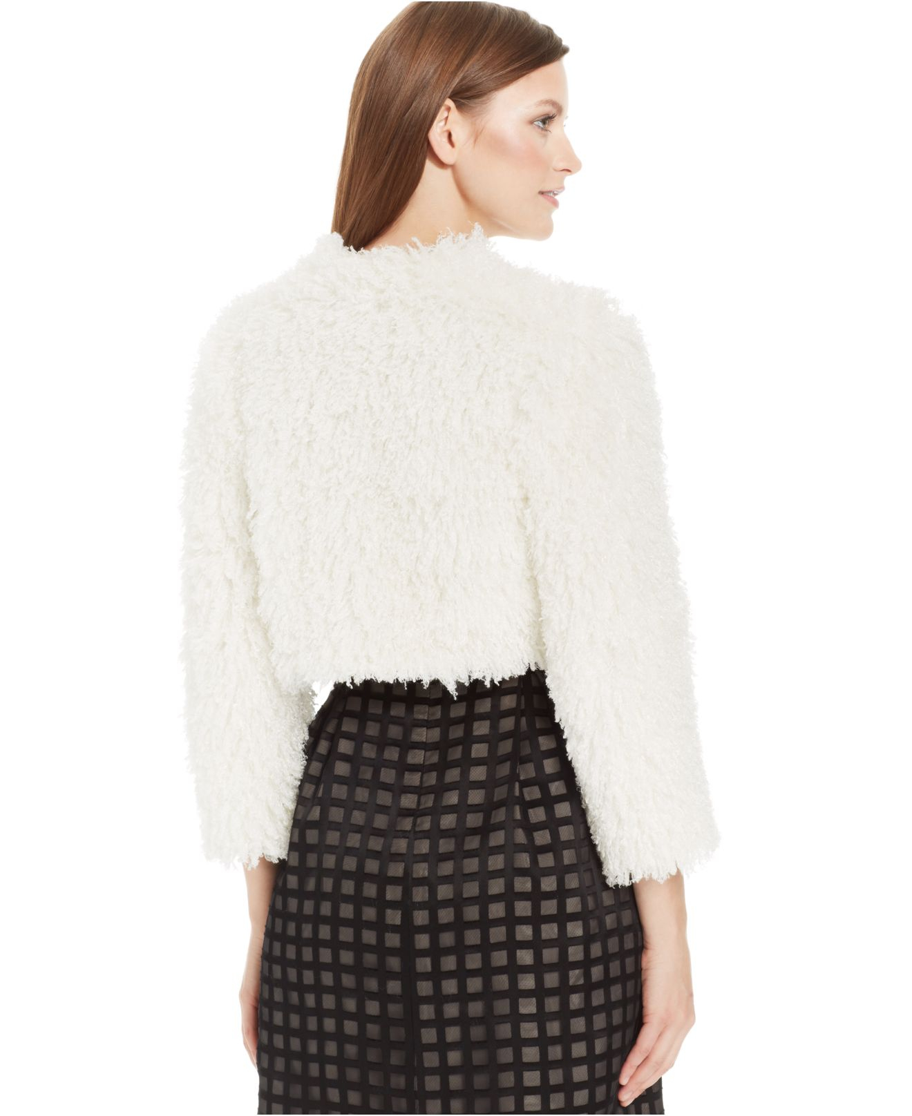 Calvin klein Shaggy Faux-Fur Cropped Cardigan in White | Lyst