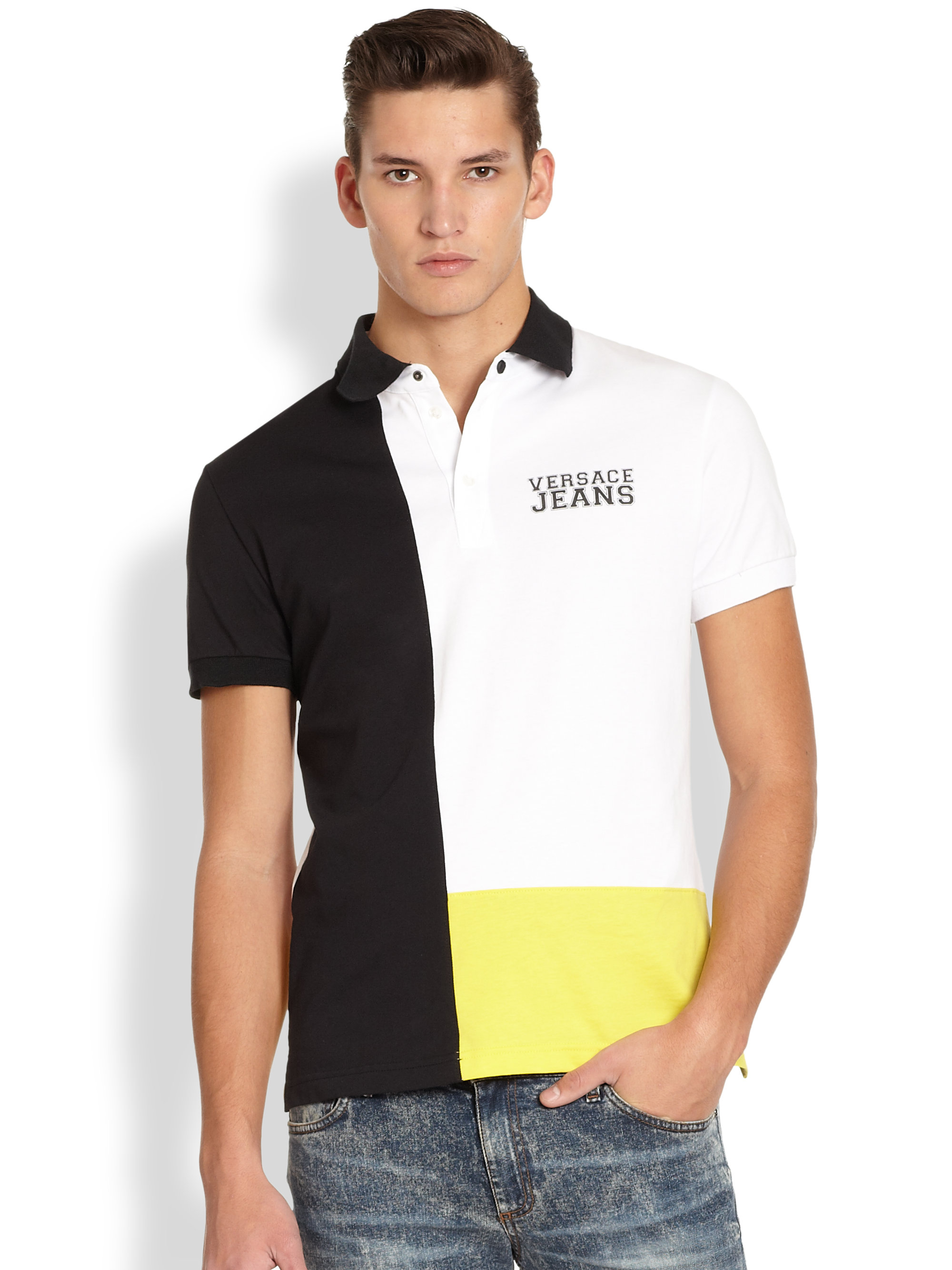 Lyst versace jeans colorblock polo shirt for men for Polo shirt and jeans