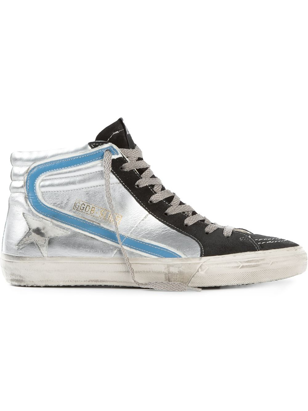 golden goose deluxe brand slide metallic leather high top sneakers in silver for men metallic. Black Bedroom Furniture Sets. Home Design Ideas
