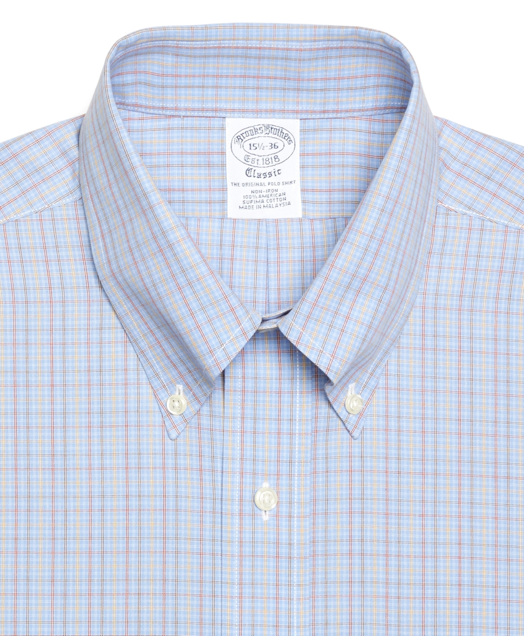 Brooks brothers non iron slim fit multicheck dress shirt for Slim fit non iron dress shirts