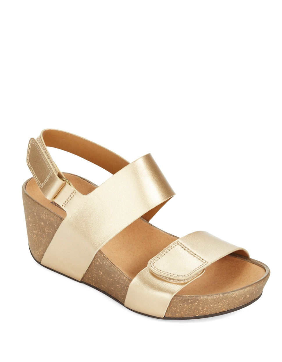 75e26ad7d2ce Clarks Auriel Fin Leather Wedge Sandals in Metallic - Lyst