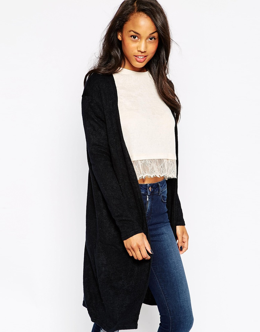 Ax paris Longline Lightweight Cardigan in Black | Lyst