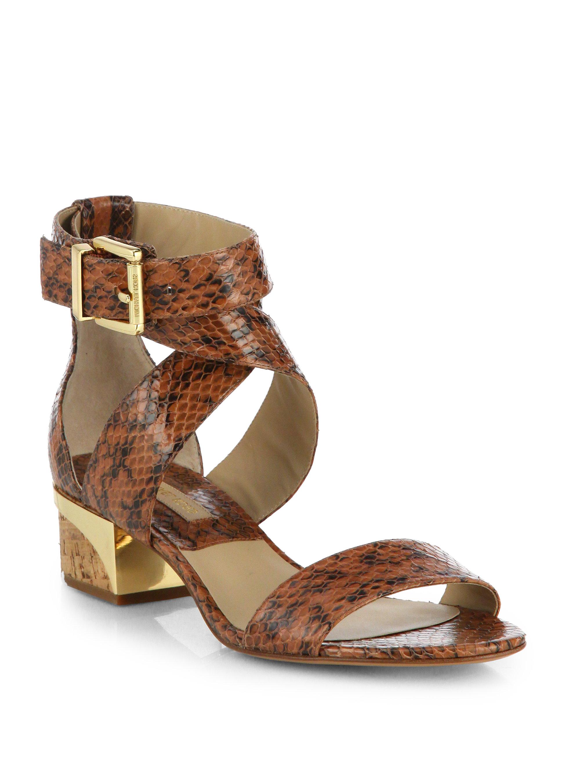 Michael Kors Tulia Snakeskin Sandals In Brown Luggage Lyst
