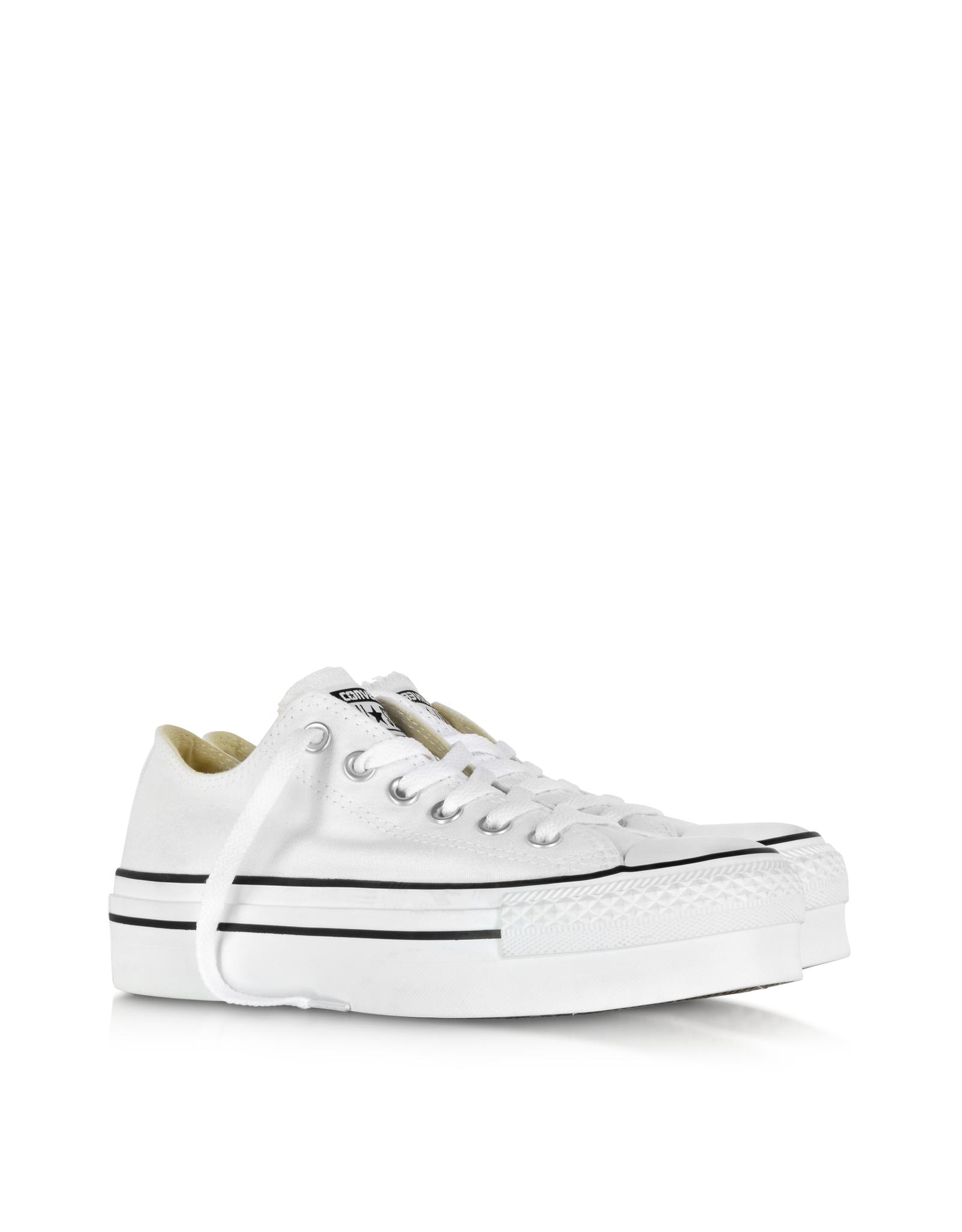 045f64b492929b Lyst - Converse All Star Ox White Canvas Platform Sneaker in White