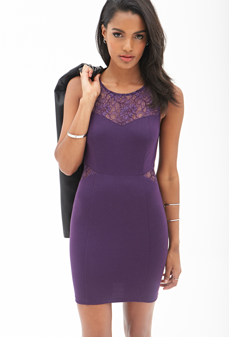 Forever 21 Dynamite Lace Bodycon Dress in Purple | Lyst - photo #13