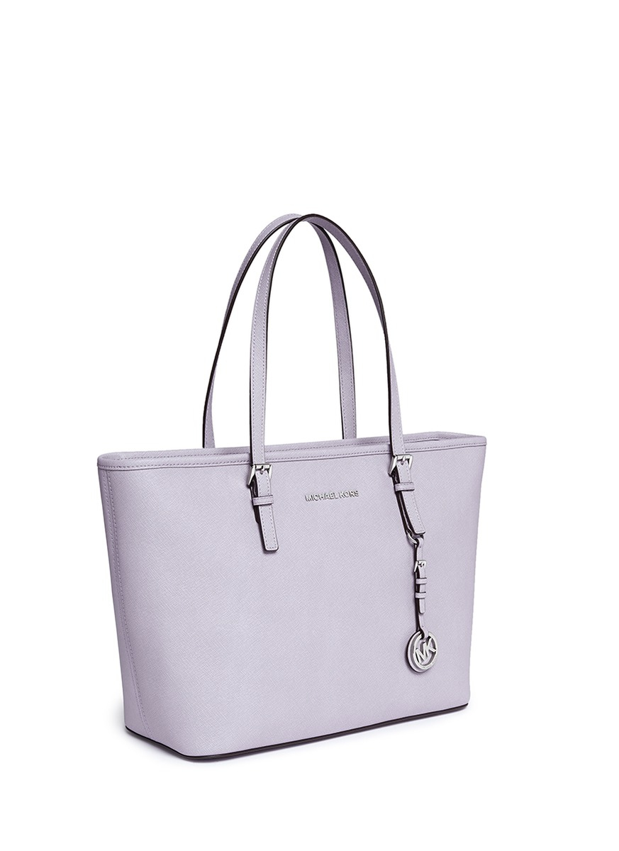 d91e14a26f98 Lyst - Michael Kors  jet Set Travel  Saffiano Leather Top Zip Tote in Purple