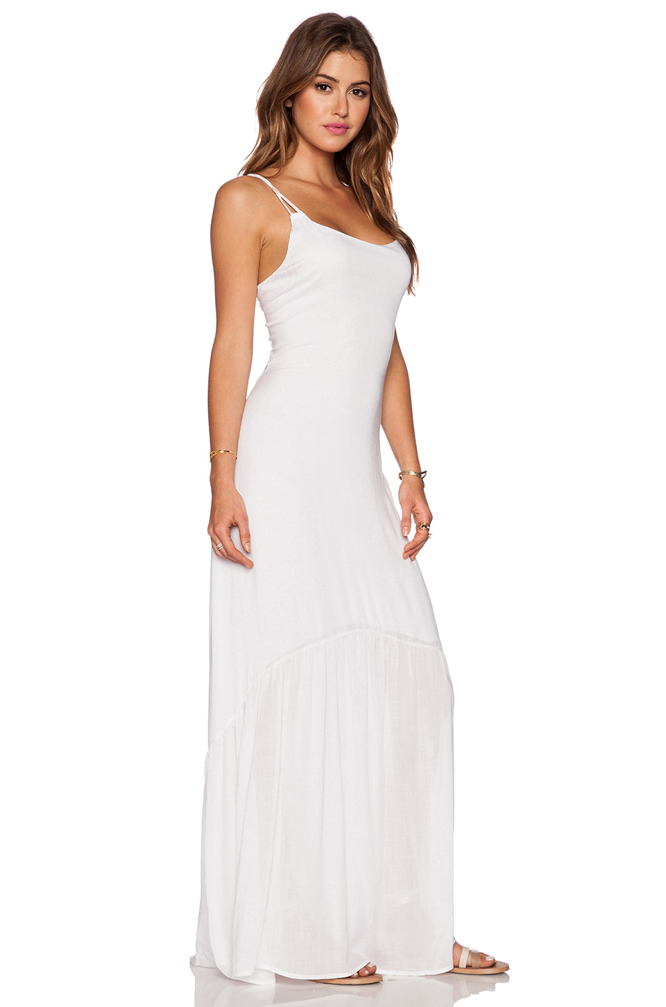 Lyst Indah Zera Ruffle Bottom Maxi Dress In White