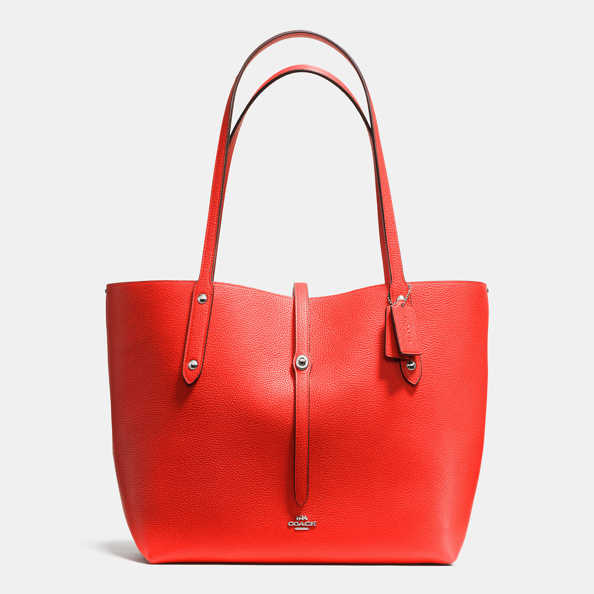 b2c0cc498b6a2 ... black true red image 3 a4d77 fea39  good lyst coach market tote in  refined pebble leather in metallic d11f7 2153b