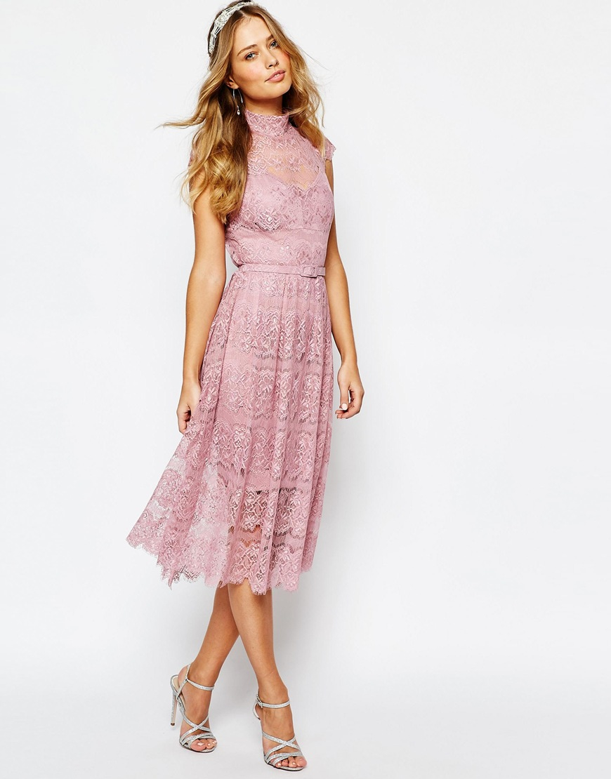 Body frock Wedding Peony Lace Dress in Pink